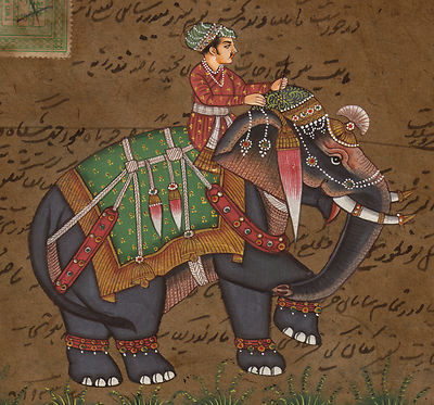 Mughal-Miniature-Painting-Handmade-Artwork-Moghul-Emperor-Riding-Royal-Elephant-190774614000-2-1